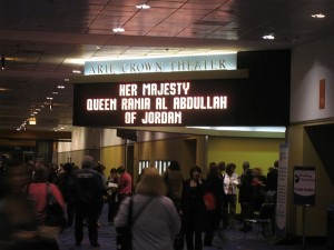 photo of the Arie Crown Theater Marquee: Her Majesty Queen Rania Al Abdullah of Jordan