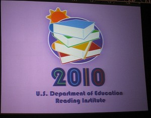 this is a photo of a sign for the 2010 U.S. Department of Education's Reading Institute